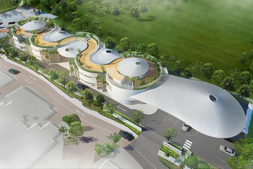 An artist's impression of E-Bridge Pre-School's new mega childcare centre in Punggol, to open by mid-2016.