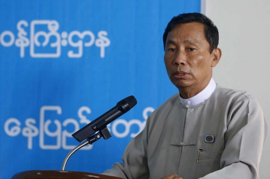 Parliamentary speaker Thura Shwe Mann delivering a speech during the donation ceremony for flood victims at the Ministry of Social Welfare Relief and Resettlement in Naypyitaw, Myanmar, on Aug 17, 2015.