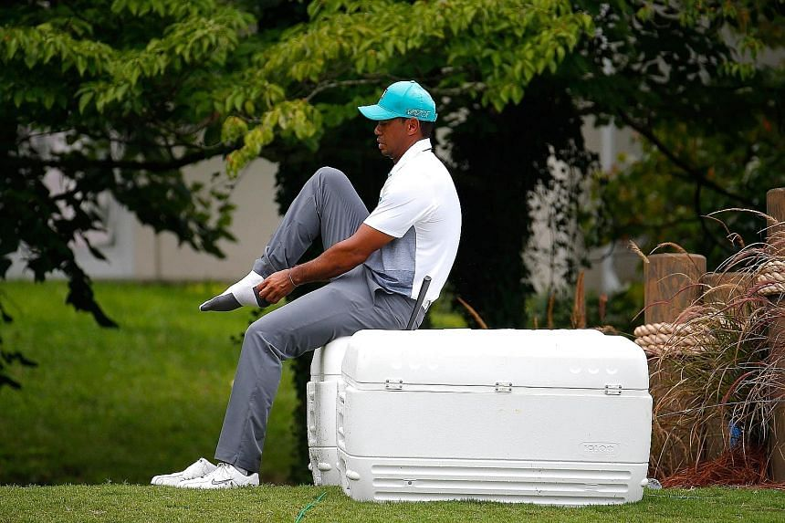 Tiger Woods at the Wyndham Championship on Thursday, where he produced his best score in an opening round in three years.