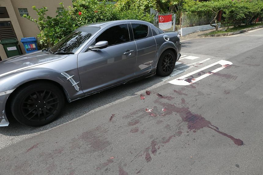 A pool of blood was seen next a silver Mazda at Alnwick Road.