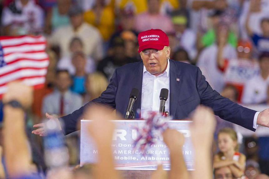 Mr Donald Trump speaking during a rally at Ladd-Peebles Stadium on Aug 21, 2015 in Mobile, Alabama.