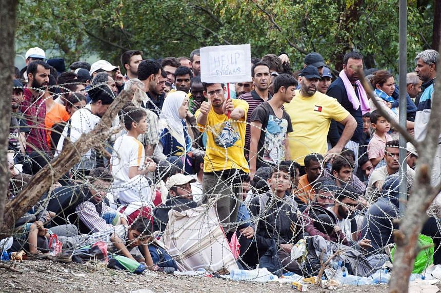 A Syrian refugee holds up a sign as he and others wait at the Macedonian-Greek border.