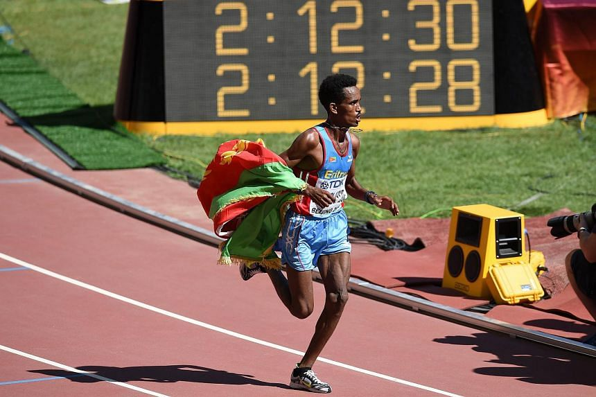 "Eritrea's Ghirmay Ghebreslassie competes in the final of the men's marathon athletics event at the 2015 IAAF World Championships at the ""Bird's Nest"" National Stadium in Beijing on Aug 22, 2015."