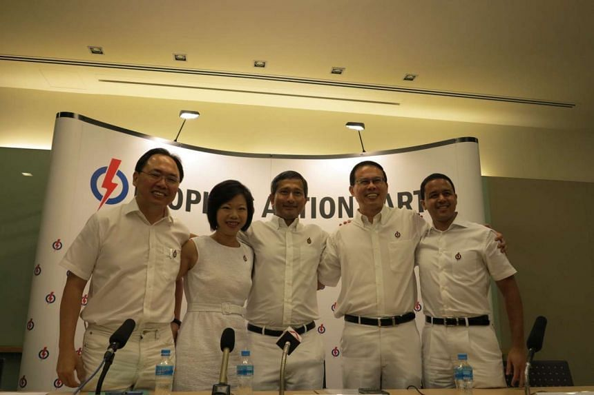 Dr Teo Ho Pin (second from right) will defend Bukit Panjang SMC. With him are the incumbent PAP MPs for Holland-Bukit Timah GRC.