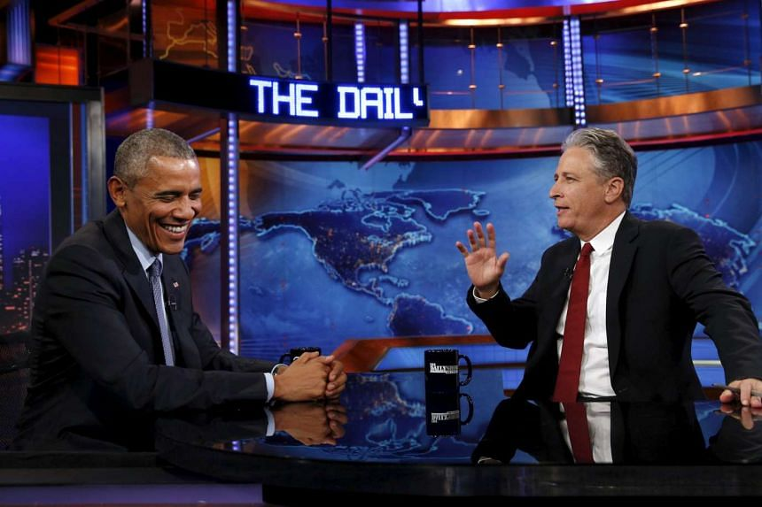 US President Barack Obama makes an appearance on The Daily Show with Jon Stewart in July 2015.