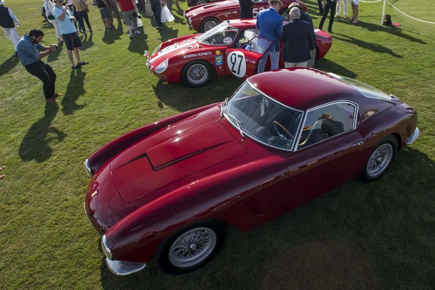 Class M-2 Ferraris (above) and the unusual 1956 Fiat Eden Roc on display on Pebble Beach.