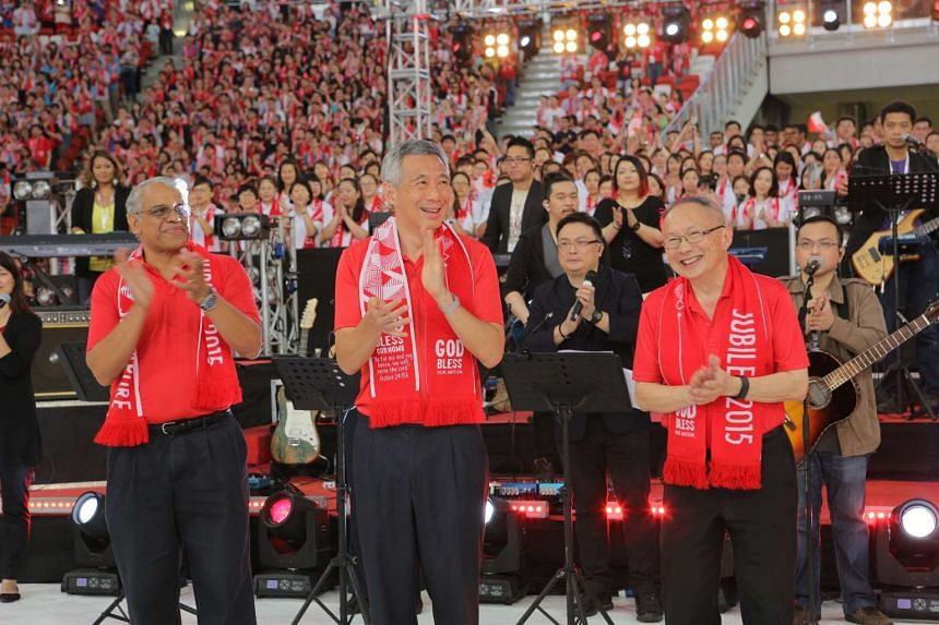 Prime Minister Lee Hsien Loong (centre) standing on the stage during the Jubilee Day of Prayer, organised by Protestant churches in Singapore.