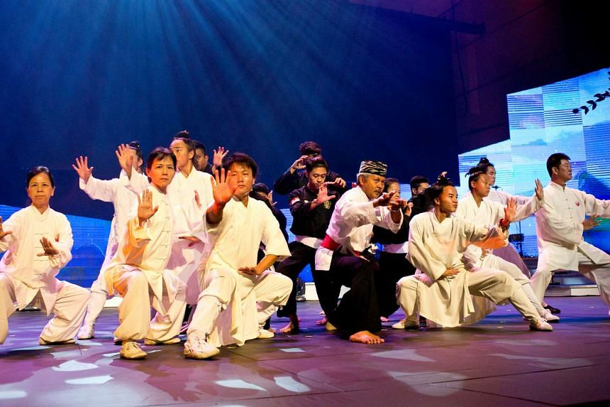 A joint performance between a silat team and a Chinese martial arts troupe, at the Harmony in Diversity event, a joint Taoist and Christian event.