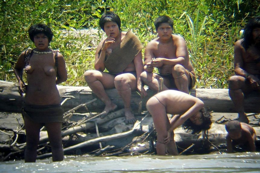 A 2011 photo of members of the Mashco Piro tribe in the Manu National Park in the Amazon basin of south-eastern Peru.