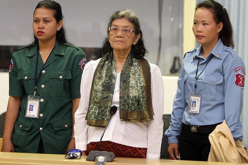 Ieng Thirith (at centre) in court in 2008. She was charged by the war crimes court for crimes against humanity, but freed in 2012 after the court ruled she was unfit to stand trial due to progressive dementia.