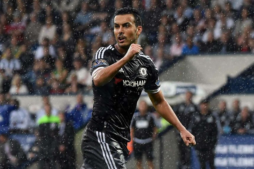 Chelsea's Pedro celebrates after scoring during the English Premier League soccer match against West Bromwich Albion at The Hawthorns Stadium on Aug 23, 2015.