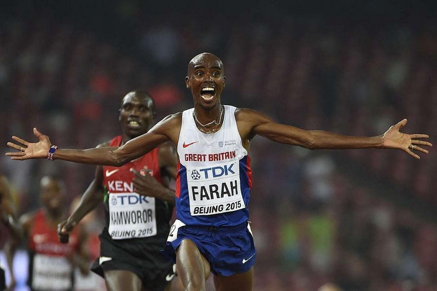 Britain's Mo Farah celebrates winning the final of the men's 10,000m.
