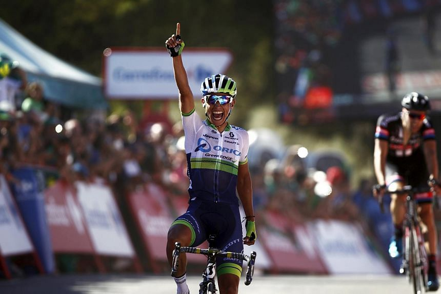 Orica GreenEdge rider Esteban Chaves of Colombia crosses the finish line to win the 158.7 km (98.6 miles) 2nd stage of the Vuelta Tour of Spain cycling race from Alhaurin de la Torre to Caminito del Rey, in Ardales on Aug 23, 2015.