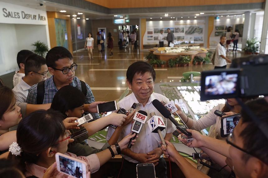 Minister for National Development Khaw Boon Wan giving a doorstop interview on housing policy changes at HDB Hub on Aug 24, 2015.