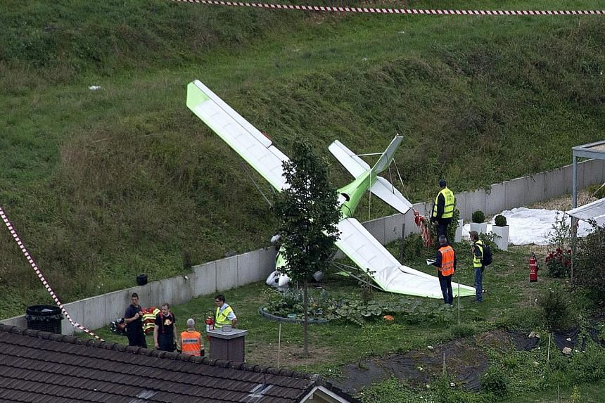 One of the planes that crashed in Dittingen. This is the second air show disaster in two days - seven people died in another incident in Britain last Saturday.