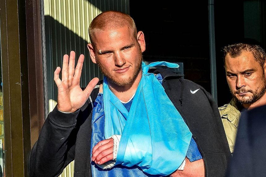 French officials are questioning Moroccan national Ayoub El Khazzani over the attack on the train last Friday. US Air Force serviceman Spencer Stone (above) was hurt while helping to overpower the gunman.