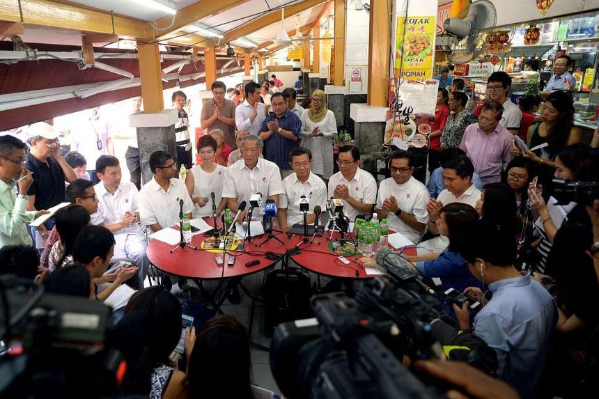 The PAP unveiled its Bishan-Toa Payoh GRC team in a coffee shop on Aug 12, 2015.