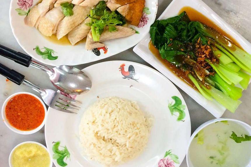 A chicken rice lunch set.