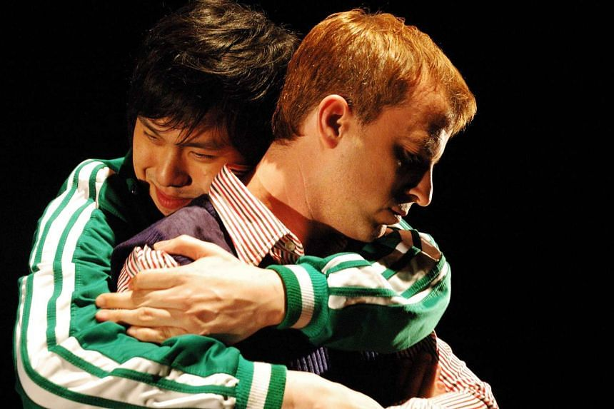 Image from the Singapore premiere of A Language Of Their Own (2006) by Chay Yew, starring Koey Foo, Phin Wong, Peter Sau and Mark Waite.