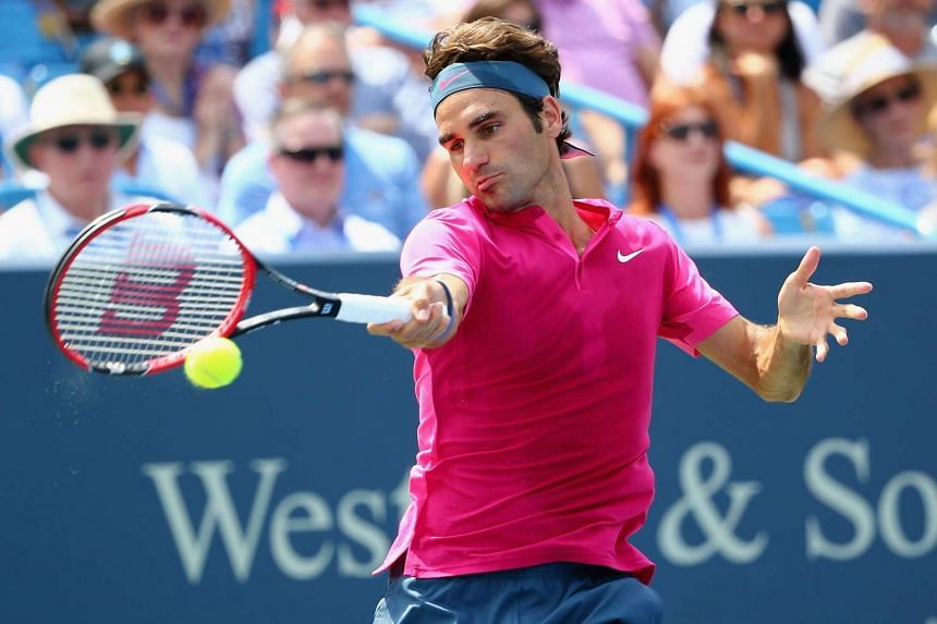 Roger Federer returns a forehand to Novak Djokovic of Serbia during the final round on Day 9 of the Cincinnati Master in Ohio on Sunday.