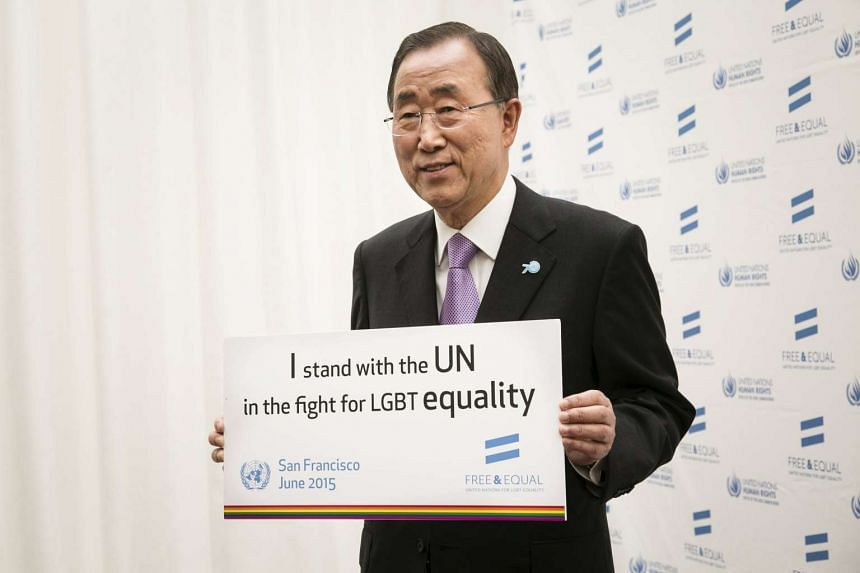 United Nations Secretary-General Ban Ki-moon holds a sign indicating his support for the worldwide fight for LGBT equality following a ceremony commemorating the 70th anniversary of the signing of the UN Charter in San Francisco in June.