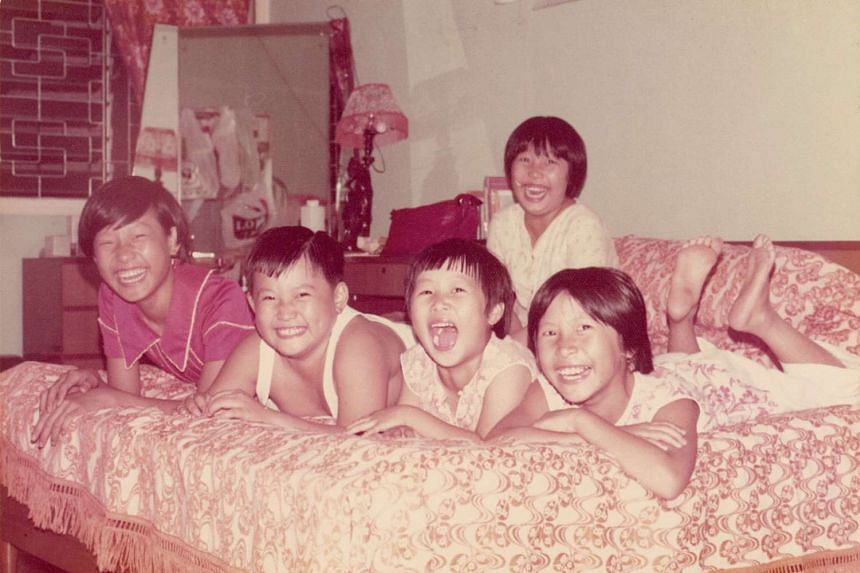 My Life So Far: The Lim siblings (from left) Evon, Daniel, their cousin Amy and Sharon with Joyce (behind).