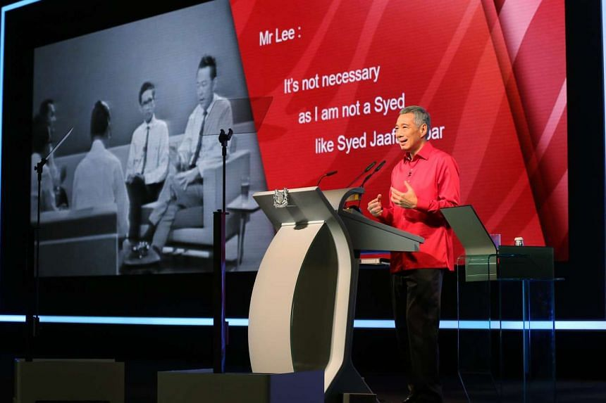 """In his Malay speech at the National Day Rally, PM Lee Hsien Loong recounted how, in a 1965 press conference, then Prime Minister Lee Kuan Yew said, """"Please do not address me as 'Tuan Perdana Menteri' (Mr Prime Minister)... It is not necessary. I am n"""