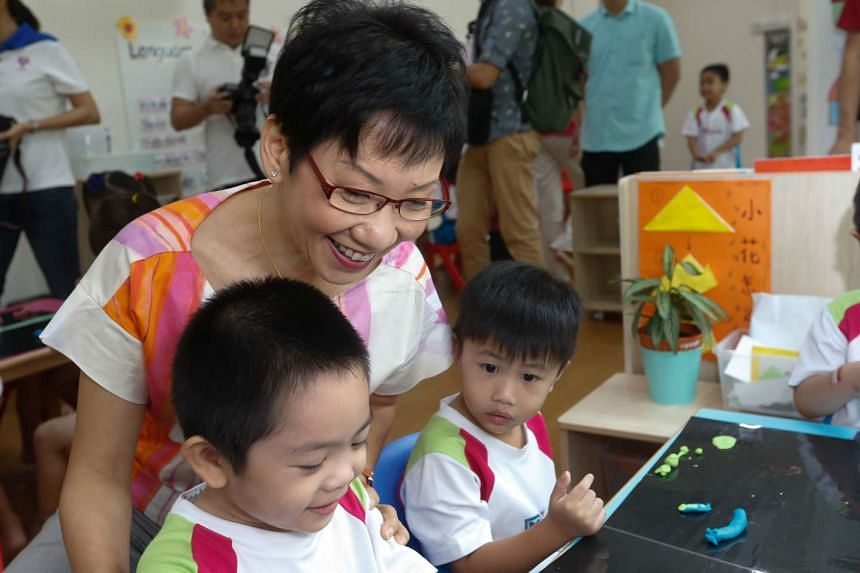 Ms Grace Fu to give more details on measures to boost marriage and birth rate, at MY World Preschool @ Compassvale Ancilla Blk 281B, Sengkang East Avenue.