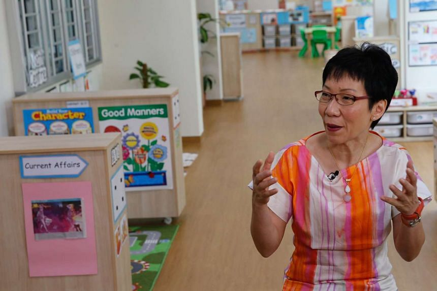 Ms Grace Fu announcing the details on measures to boost marriage and birth rate, at MY World Preschool @ Compassvale Ancilla Blk 281B, Sengkang East Avenue.