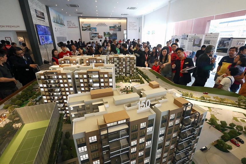 Potential buyers at the sales gallery of The Brownstone executive condominium (EC) in Sembawang on July 12, 2015.