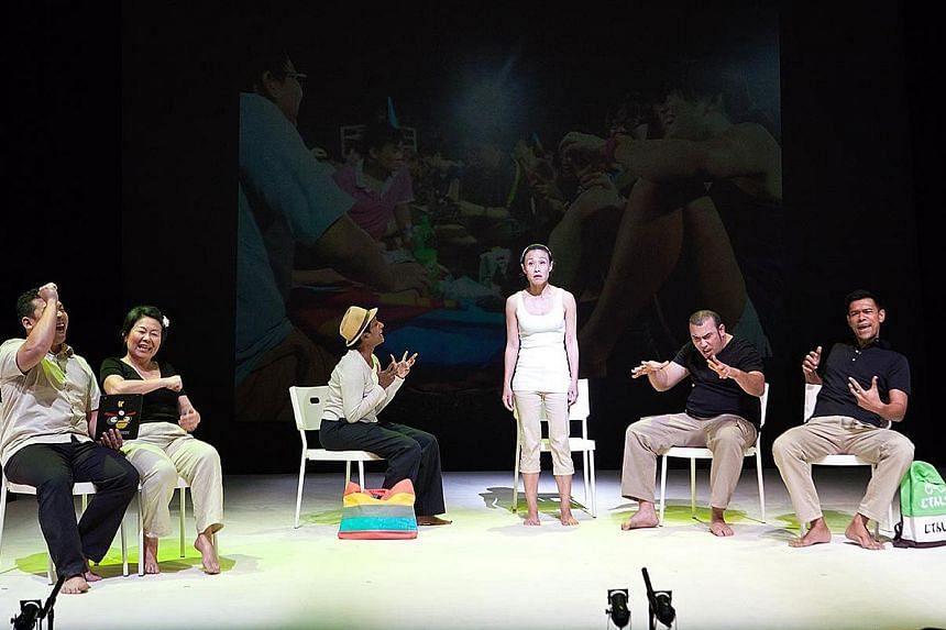 The cast in the first run of Cooling Day in 2011 comprised (from far left) Peter Sau, Neo Swee Lin, Jo Kukathas, Tan Kheng Hua, Najib Soiman and Rodney Oliveiro.