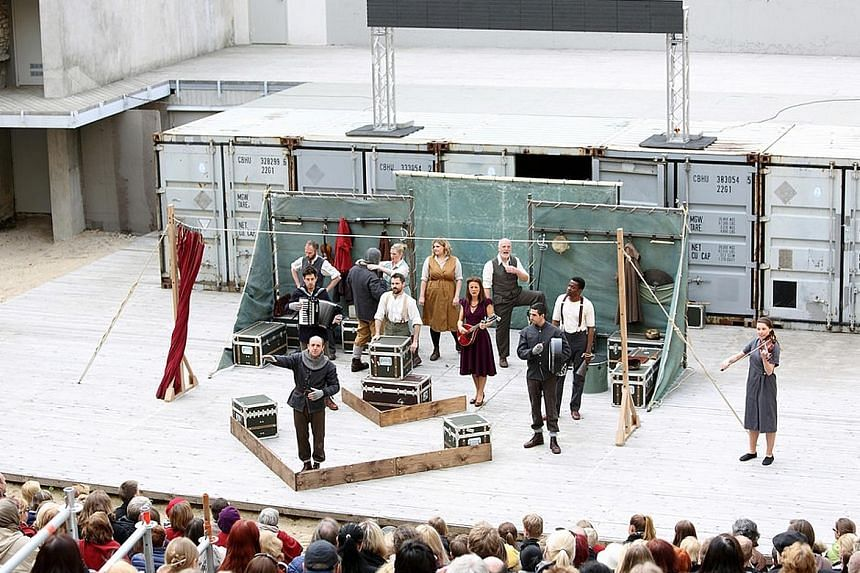 Shakespeare's Globe's production of Hamlet at the Shabyt Palace of Arts (above) in Kazakhstan last September and at the Tallinn City Theatre in Estonia (left) in May last year.