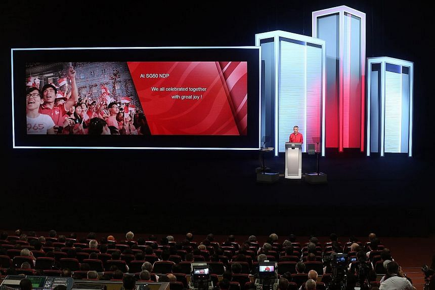 PM Lee Hsien Loong delivering his National Day Rally speech at ITE College Central on Sunday night. Three principles have brought us to SG50, PM Lee said. They are multiracialism, self-reliance and mutual support, and keeping faith between the Govern