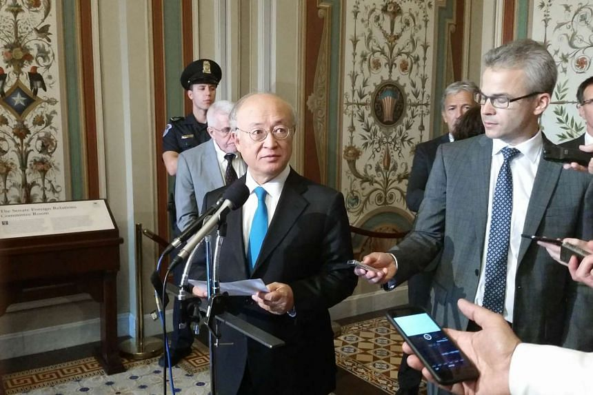 International Atomic Energy Agency (IAEA) director general Yukiya Amano addressing reporters on Aug 5, 2015.