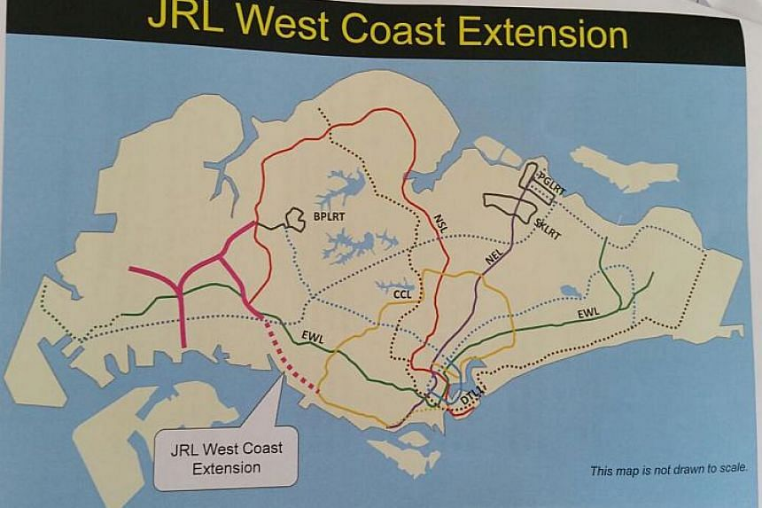 A map showing a possible extension on the Jurong Region Line (JRL).
