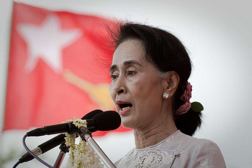 National League for Democracy chairperson Aung San Suu Kyi during a rally on Aug 21, 2015.