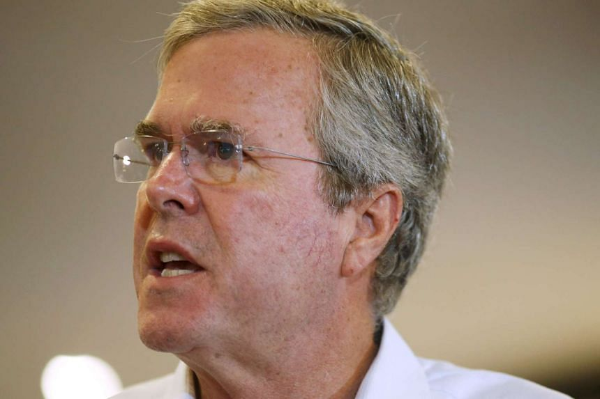 Former Florida Governor and Republican candidate for president Jeb Bush speaks at a VFW town hall event in Merrimack, New Hampshire on Aug 19.
