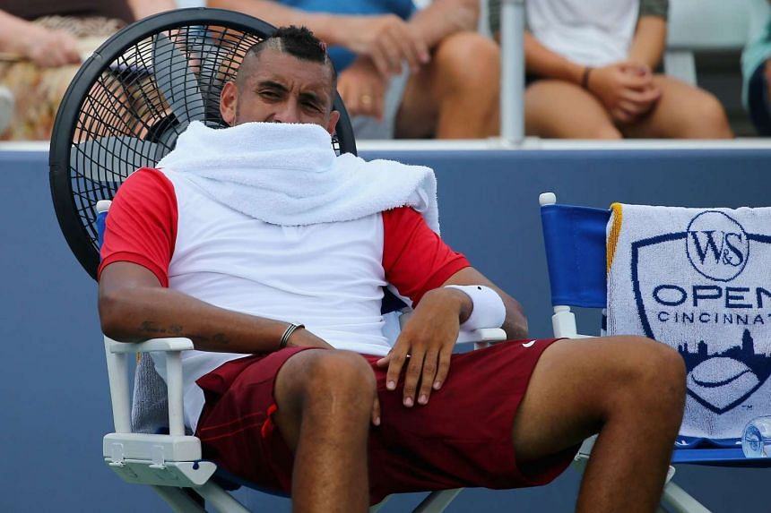 Nick Kyrgios of Australia takes a break between sets during the Cincinnati Masters last week.