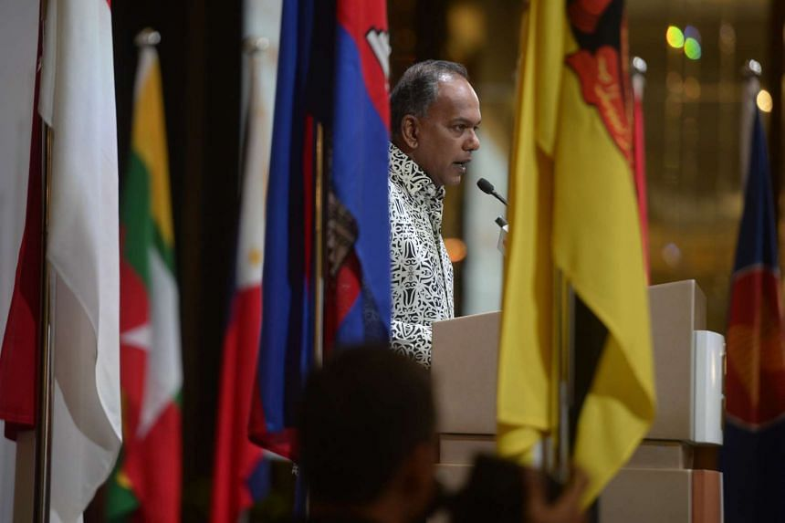 Foreign Minister K. Shanmugam speaking at the Asean Day reception at Shangri-La on Aug 24, 2015.