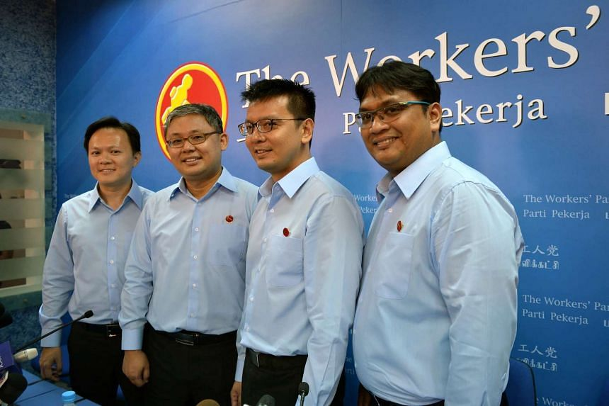 Workers' Party candidates (from left) Dylan Ng, Koh Choong Yong, Daniel Goh and Redzwan Hafidz Abdul Razak.
