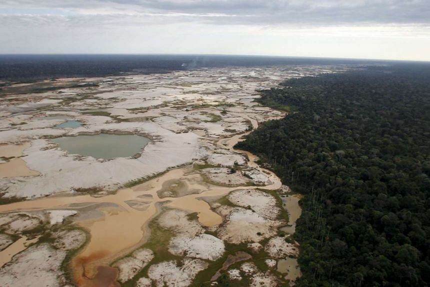 An area deforested by illegal gold mining in the southern Amazon region of Madre de Dios on July 13, 2015.