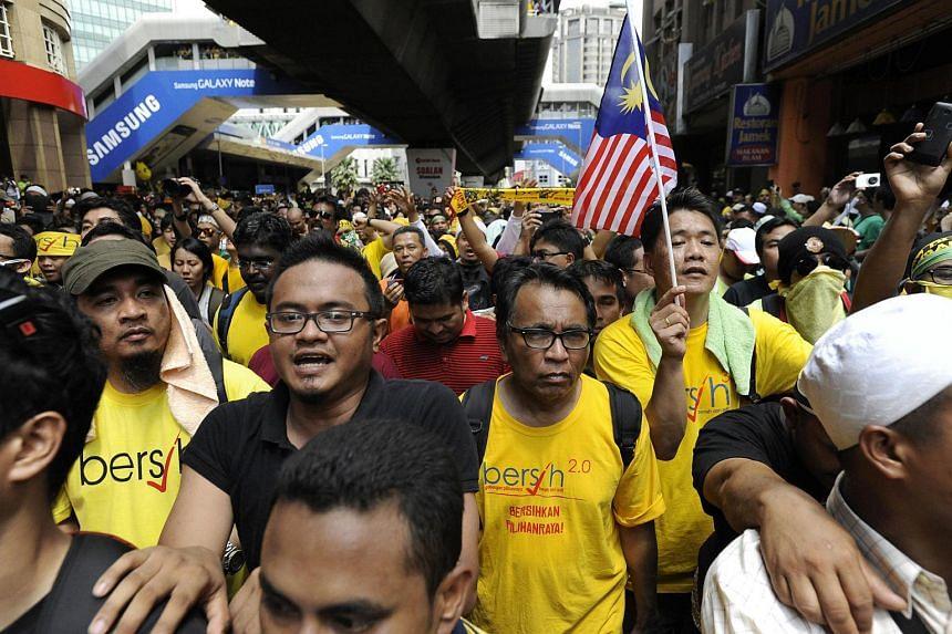 The crowd at the Bersih 3 rally in Kuala Lumpur on April 28, 2012.