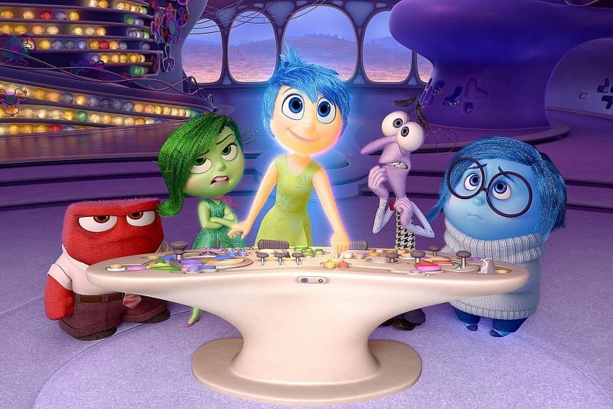 Pixar's Inside Out features the core emotions of (from left) Anger, Disgust, Joy, Fear and Sadness vying for influence over an 11-year-old girl's mind.