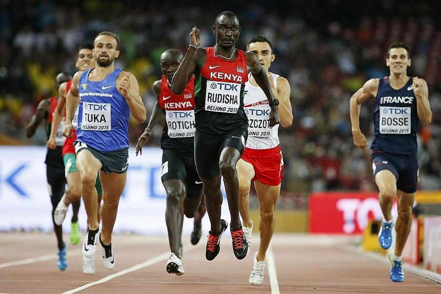 David Rudisha's face shows the exertion of giving his all as he races to the finish line to win the 800m. The triumph erases the three years of pain and frustration when he was hobbled by a knee injury.