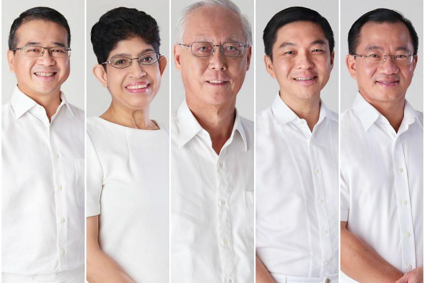 The PAP's Marine Parade GRC team (from left) Mr Edwin Tong, Dr Fatimah Lateef, Mr Goh Chok Tong, Mr Tan Chuan-Jin and Mr Seah Kian Peng.