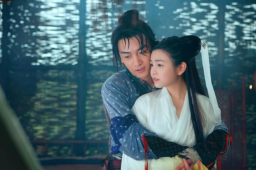 Michelle Chen Yan-hsi (right) and Chen Xiao as Little Dragon Girl and Yang Guo in The Romance Of The Condor Heroes.