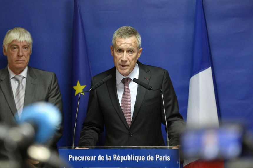 Paris chief prosecutor Francois Molins (right) during a press conference on the Thalys train attack.
