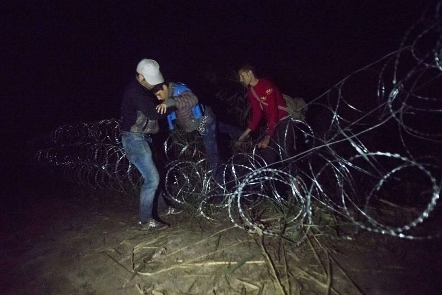 Migrants climbing over razor wire fence at the border between Hungary and Serbia near Roszke, 180km south-east from Budapest, Hungary, on Aug 26, 2015.