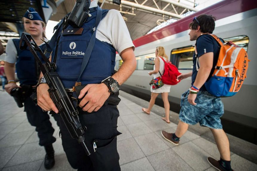 Police officers patrolling on the Thalys train platforms at Brussels Midi Station, in Brussels, Belgium, on Aug 22, 2015.