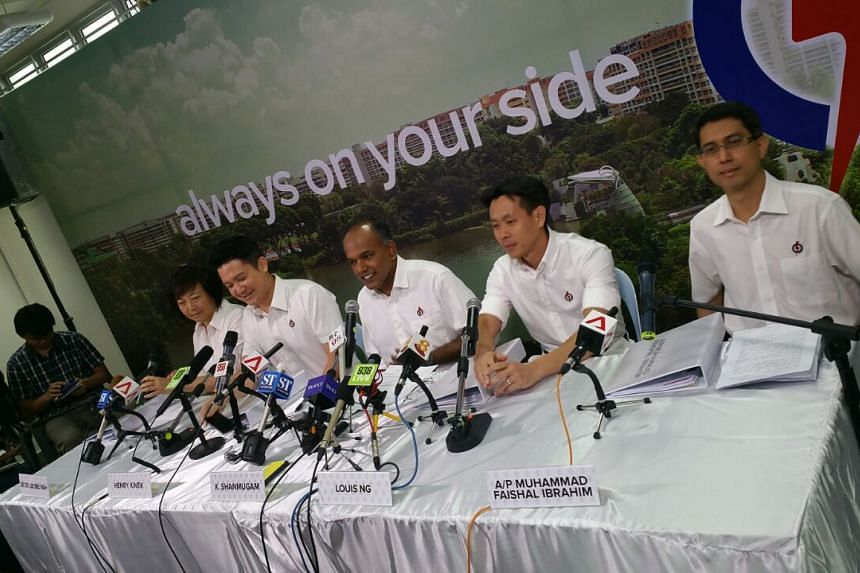 The PAP's Nee Soon GRC team (from left) Lee Bee Wah, Henry Kwek, K. Shanmugam, Louis Ng and Muhammad Faishal Ibrahim at their press conference.